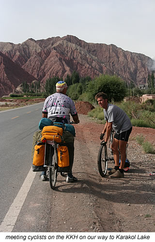 meeting cyclists near Karakol Lake China