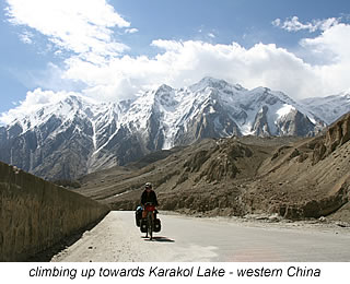cycling up the mountain to Karakol Lake China