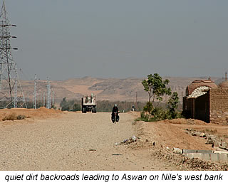 dirt backroads leading to Aswan on Nile's West Bank
