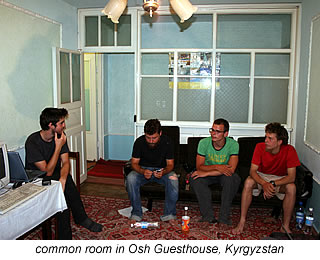 common room at Osh Guesthouse in Kyrgyzstan