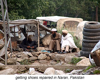 waiting for the shoes to be fixed in Naran
