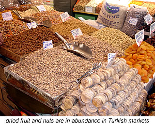turkish dried fruit and vegetables at the market