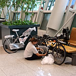 bubble wrapping bikes at airport