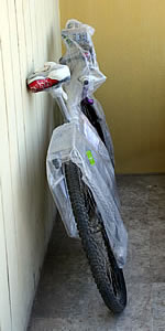 bubble wrapped bike